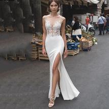 Backless Illusion Mermaid Wedding Dresses Lace Side Split image 2