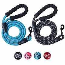 2 Packs 5 FT Strong Rope Dog Leash with Comfortable Padded Handle and Highly Ref