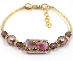 BRACELET PURPLE MURANO GLASS RECTANGLE TUBE, SPHERE, GOLD LEAF, MADE IN ITALY image 1