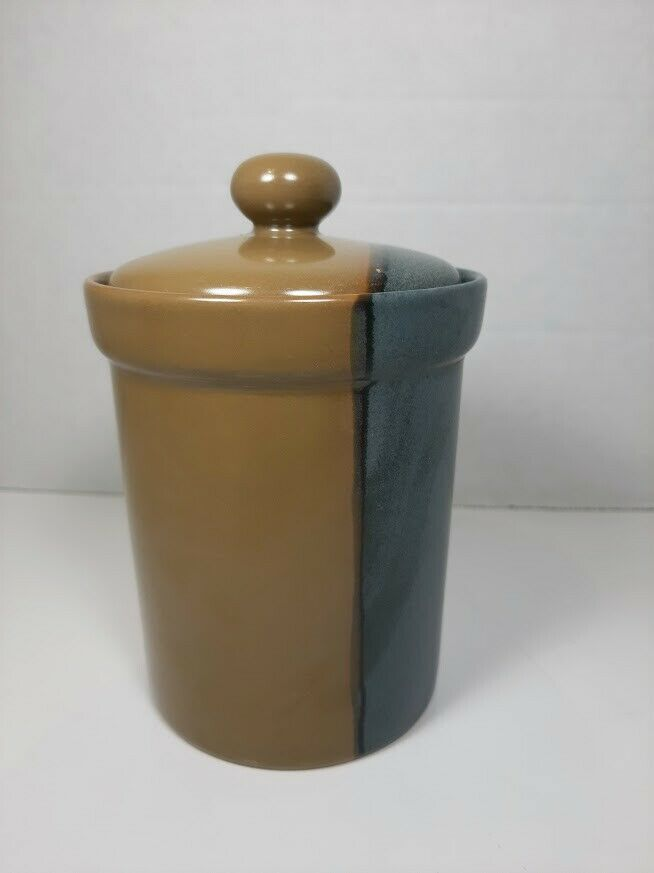 """Sango 5040 Gold Dust Green X-Sm Canister with Lid - 4"""" w/o lid, 5.75"""" with lid - $8.54"""