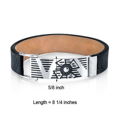 Urban Style Black Genuine Leather & Stainless Steel Bracelet image 3