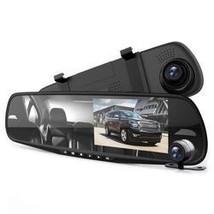 DVR Rearview Mirror Dash Cam Kit - Dual Camera Vehicle Video Recording S... - $42.38