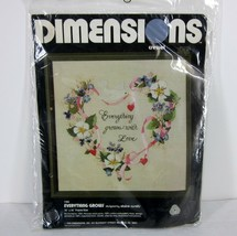 """DIMENSIONS 1164 """"EVERYTHING GROWS"""" CREWEL EMBROIDERY KIT 1980 USA 16"""" x ... - $38.08"""