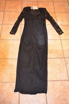 LILLIE RUBIN BLACK SILK FULLY BEADED FORMAL GOWN BALL DRESS SWEETHEART M... - $40.50