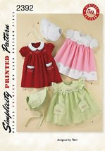 Simplicity Sewing Pattern 2392 Babies Dress and Bonnet Designed by Teri ... - $13.48