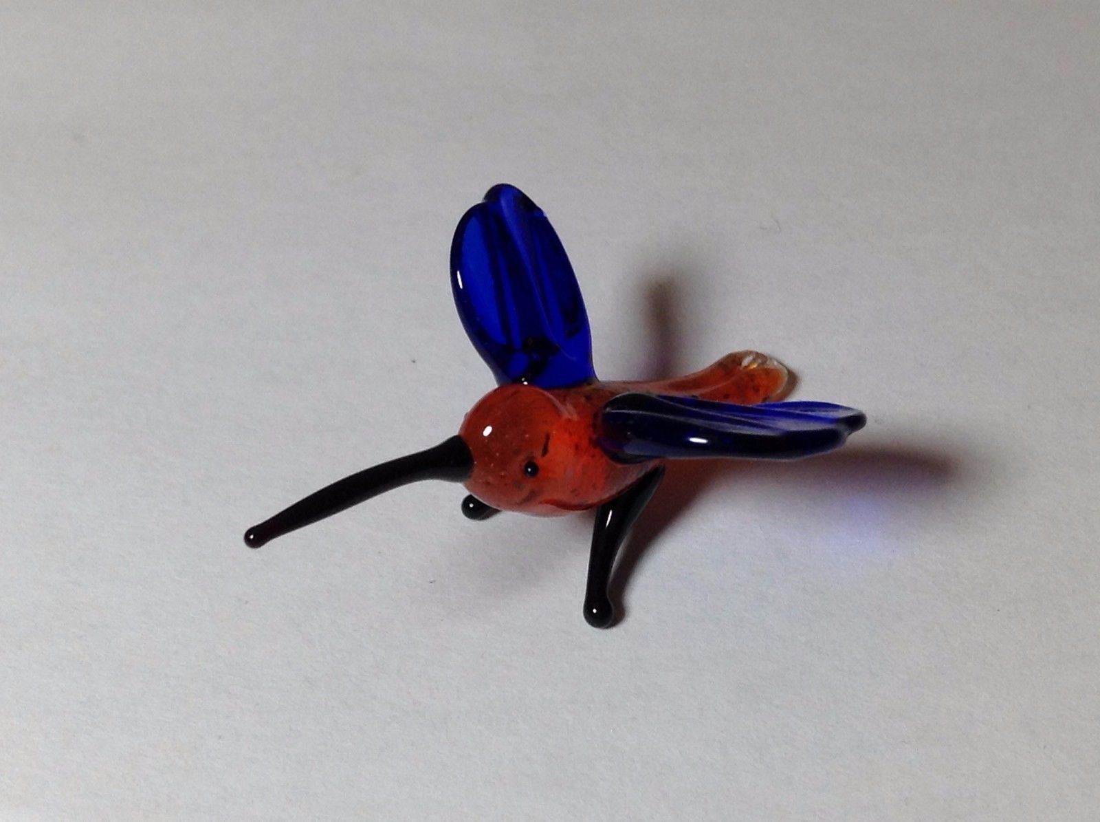 Miniature Glass Red Hummingbird w Blue Wings  Handmade Blown Glass Made USA