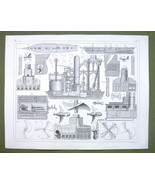 STEAMSHIP Construction Propellers Engines - 1844 Original Steel Engraving - $16.83