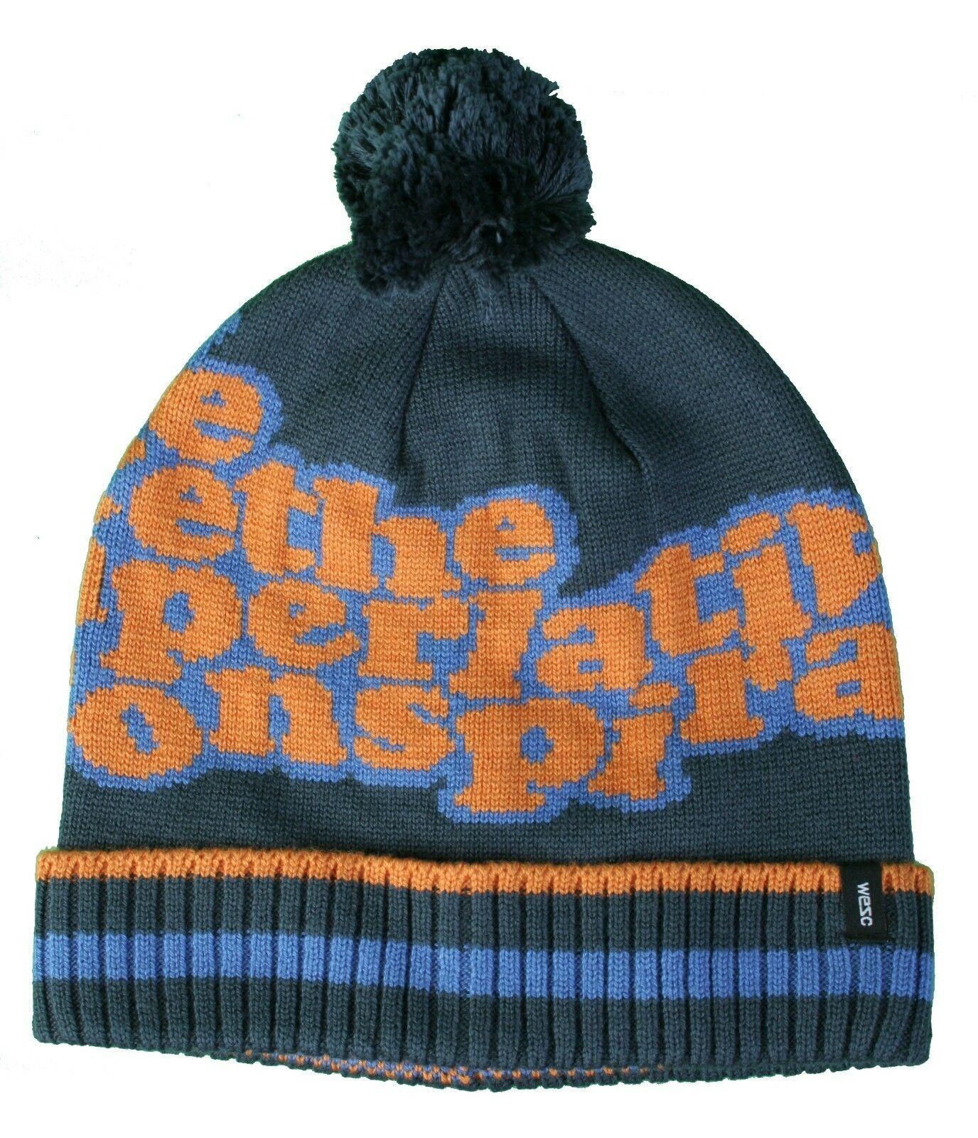 WeSC We Are The Superlative Conspiracy Unisex Blue Jacquard Nuncio Beanie Hat NW