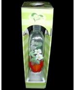 Lovinbox Hand Painted Flower Apple Glass Cruet Oil Bottle NIB - $9.99