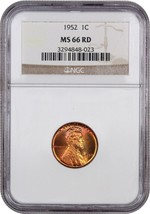 1952 1c NGC MS66 RD - Lincoln Cent - $92.15