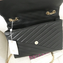 Tory Burch Kira Chevron Quilted Leather Shoulder Bag in Black image 8