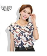 2017 women blouse shirt fashion short-sleeved women casual loose chiffon... - $16.50
