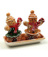 Winter Gingerbread Salt & Pepper Set with Tray Holiday Decor - $17.81