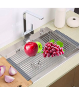 Stainless Steel Roll Up Over Sink Kitchen Folding Dish Drainer Drying Rack - $18.80