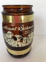 Mount Rushmore Souvenir Mug Brown Glass Wood Handle Black Hills Buffalo USA - $9.89
