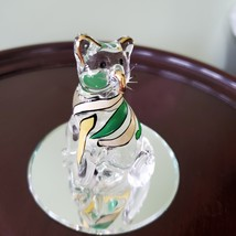 Glass Cat Figurine on mirrored base, painted with yellow green stripes, Kitty image 8
