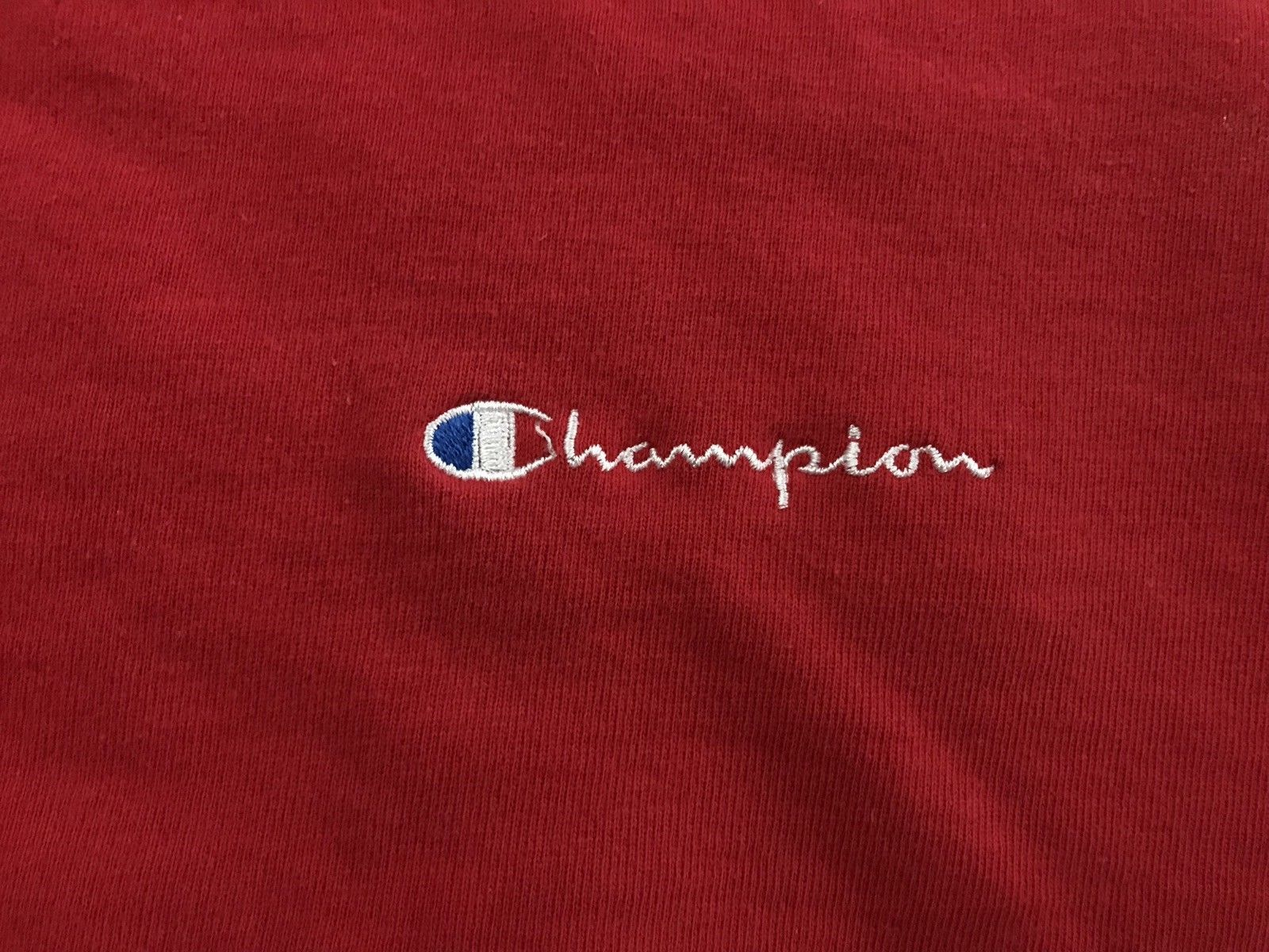 VINTAGE Champion Warmup Crewneck Sweatshirt Spell Out XL script 90s USA
