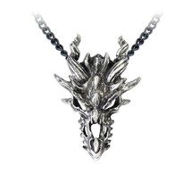 Alchemy Gothic P625  Dragon Skull Pendant Necklace - $34.62