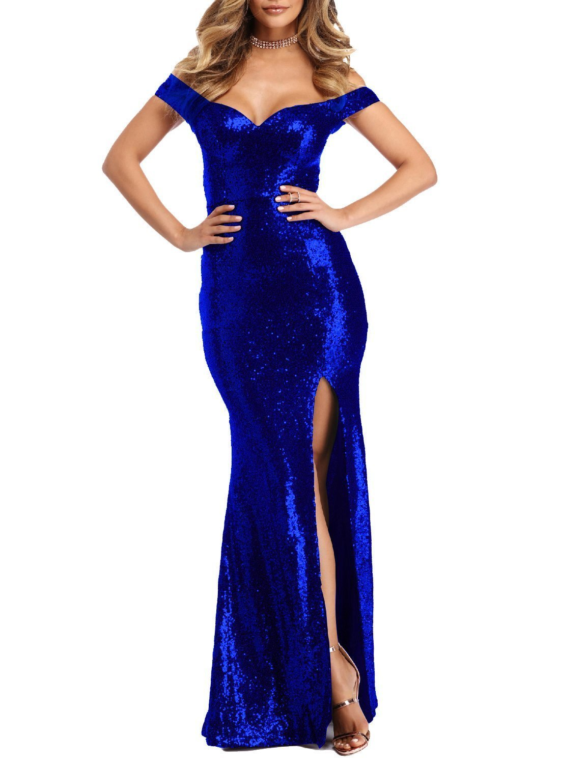 Women's Sexy 2018 Off Shoulder Prom Gowns Sequin Mermaid Evening Party Dresses