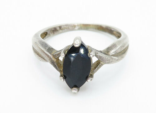 AVON 925 Silver - Vintage Marquise Cut Sapphire Solitaire Ring Sz 7 - R11193 image 2