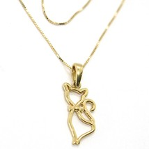 """18K YELLOW GOLD MINI NECKLACE, CAT PENDANT 0.7"""" AND VENETIAN CHAIN 17.7"""" image 2"""