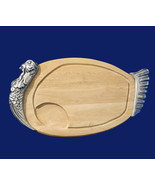Vintage 24 in. Wood and Pewter Thanksgiving Holiday Turkey Serving Platter - $69.88