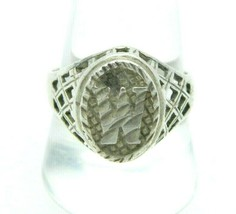 Sterling Silver .925 Textured Openwork Initial W Ring Size 9.75 Vintage - $39.59