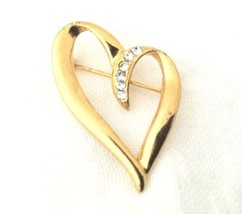 Vintage Gold Plated Unusual Heart Clear Rhinestone  Brooch Pin*S93 - $17.82