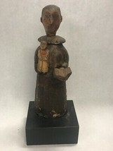 Vintage Wood hand carved MONK holding bible and small figure stand uniqu... - $49.49