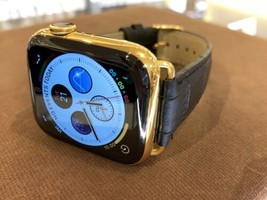 44mm Apple Watch Series 4 Custom 24K Gold Plated Stainless Steel Black Leather B - $1,133.42