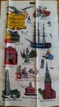 UNUSED SOUVENIR LINEN PRINT KITCHEN TOWEL ~ BOSTON MASS. FREEDOM TRAIL - $8.90