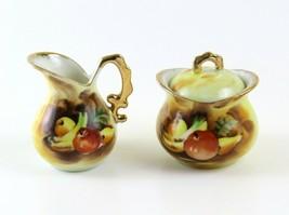 Vintage Enesco Fruit Design Mini Creamer and Sugar Bowl with Lid, Japan - $12.86