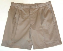 Roundtree & Yorke Size 46 EXPANDER WAIST Brown Cotton Pleated New Mens S... - $37.25