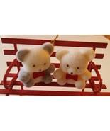 Avon Two Teddy Bear Figures Sitting on Metal Park Bench Christmas Ornament - $7.69