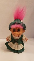 "Vintage 5"" Irish Troll Doll with Pink Hair VGC St Patrick's Day - $15.83"