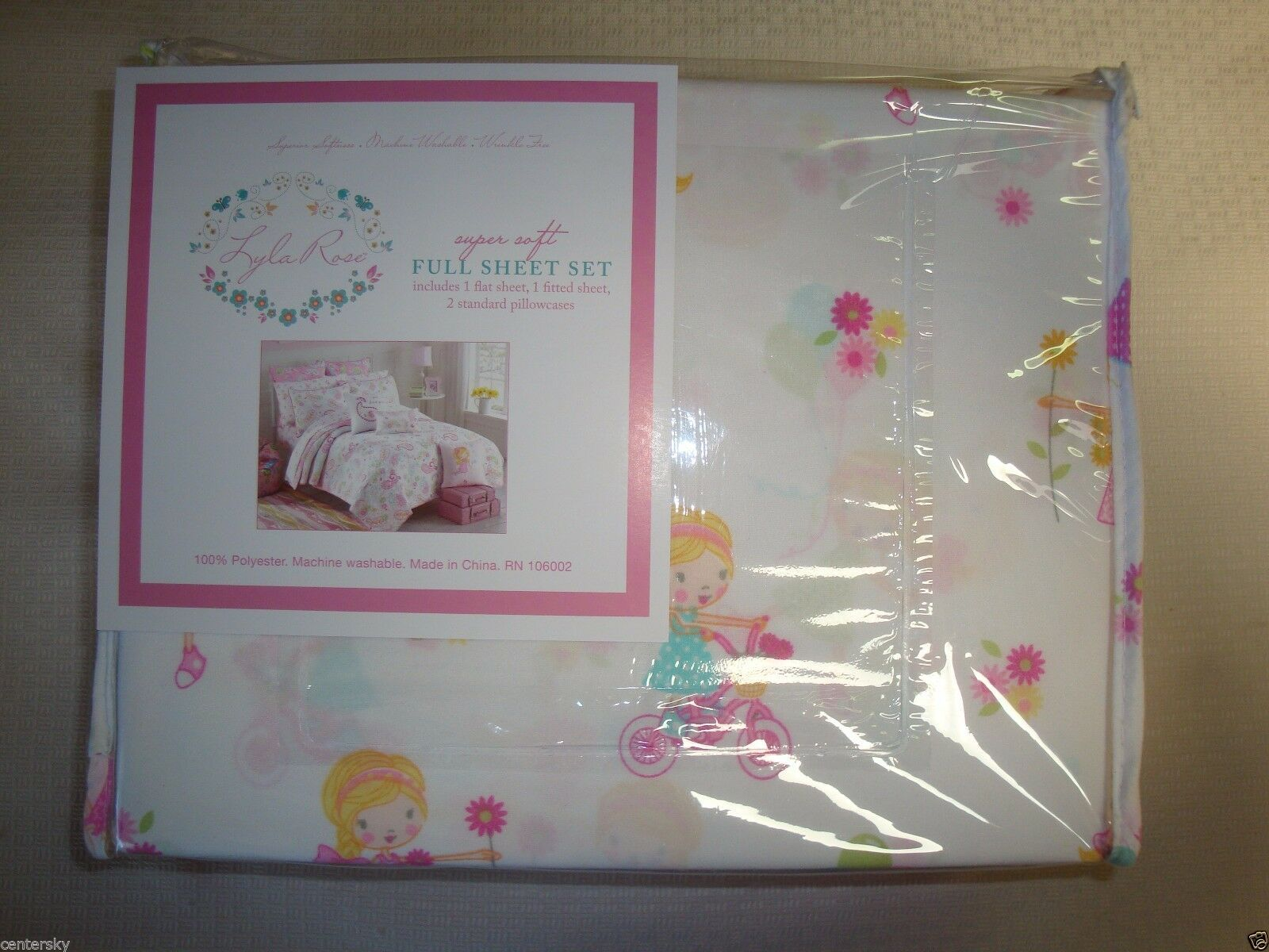 New Lyla Rose 4 Piece FULL Sheet Set Little Girls Bicycles Bubbles Flowers Cats