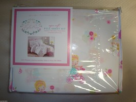 New Lyla Rose 4 Piece FULL Sheet Set Little Girls Bicycles Bubbles Flowers Cats image 1