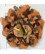 Distressed Wood Country Pumpkin Harvest Deco Mesh Wreath - $89.99