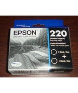 2 Pack Genuine Epson 220 Black Ink Cartridge  Dated 2023 - $23.36