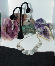QVC Sterling Silver Mother-of-Pearl Disc Station Necklace Dangle Earring... - $42.56