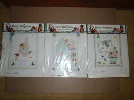 3 Daisy Kingdom Stamped Cross-Stitch Samplers Bucilla Christmas 1992  8 x 10 NEW - $13.99