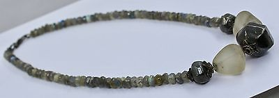 296 CTS BLACK LABRADORITE FACETED ROCK CRYSTAL BEADS & 925 SILVER NECKLACE