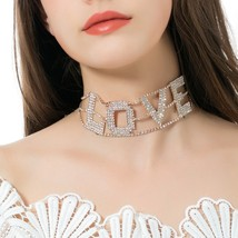 New Fashion Crystal Inlaid Letters LOVE Style Neck Chain Choker Lovely C... - $21.85