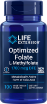 Life Extension Optimized Folate (L-Methylfolate) 1000mcg, 100 Vegetarian Tablets - $13.47