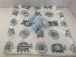 Blankets & Beyond blue elephant owls baby toy security blanket lovey whi... - $9.89