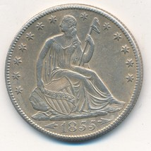 1855-O SEATED LIBERTY SILVER HALF DOLLAR-VERY STRONG DETAILS! NICE!! SHI... - $274.95
