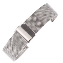 16mm Thin Mesh Milanese Watch Strap Silver Chain Belt Wristband for Women's Watc - $29.45