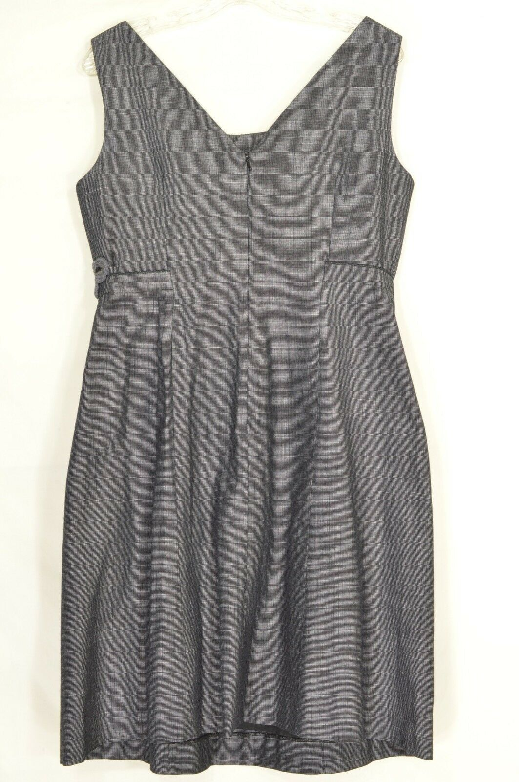 Tabitha dress 10 gray small checks applique embroidery fitted waist pleats