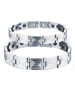 Magnetic Therapy Negative Ion Germanium Couples Link Bracelet - £20.68 GBP