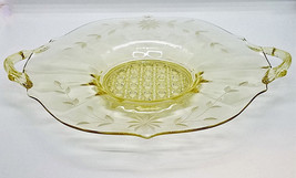 "Yellow Glass Serving Dish Desert Tray with Handles 9-3/4"" - $17.46"